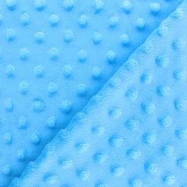 Tissu Velours minkee doux relief à pois - bleu ciel x 10cm