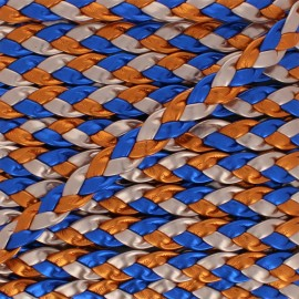 11 mm Braided Ribbon - Blue/Orange Volos x 1m