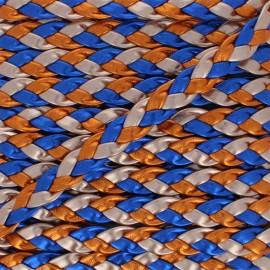 Ruban Tressé Volos 11 mm - Bleu/Orange  x 50cm