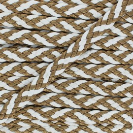 11 mm Braided Ribbon - White/Bronze Alesia x 50cm