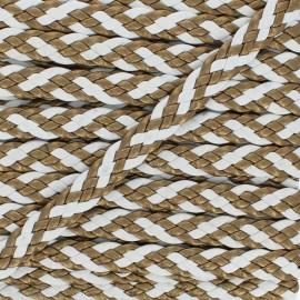 Ruban Tressé Alesia 11 mm - Blanc/Bronze x 50cm