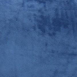 Tissu Velours minkee doux ras - bleu indigo x 10cm