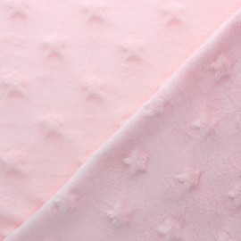 Tissu Velours minkee doux relief à étoiles - rose poudré x 10cm