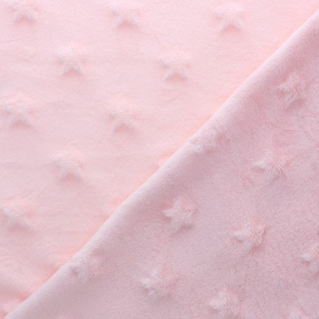 Star minkee velvet fabric - powder pink x 10cm