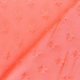 Tissu Velours minkee doux relief à étoiles - rose corail x 10cm