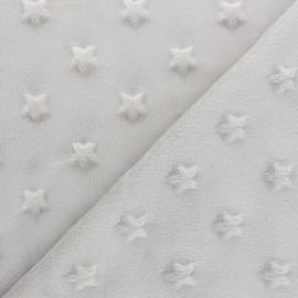 Tissu Velours minkee doux relief à étoiles - taupe x 10cm