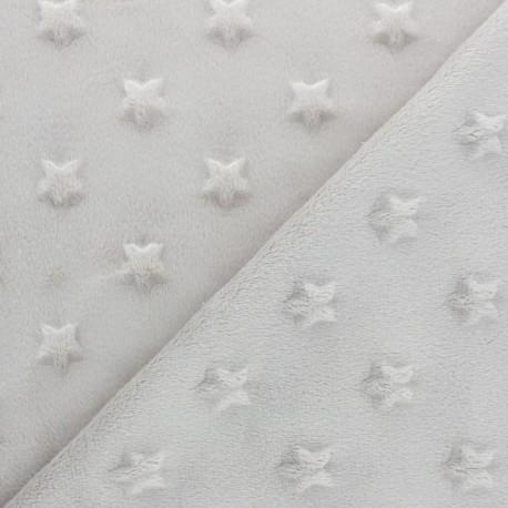 Tissu Velours minkee doux relief à étoiles - noir x 10cm
