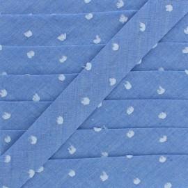 Biais Chambray Plumetis 20 mm - Bleu x 1m