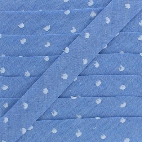 20 mm Chambray Bias Binding - Blue Plumetis x 1m