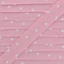 Biais Chambray Plumetis 20 mm - Rose x 1m