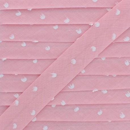20 mm Chambray Bias Binding - Pink Plumetis x 1m