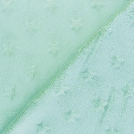 Tissu Velours minkee doux relief à étoiles - vert céladon x 10cm