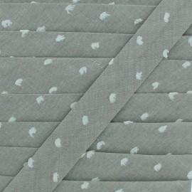 Biais Chambray Plumetis 20 mm - Kaki x 1m