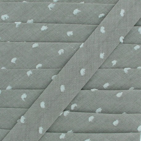 20 mm Chambray Bias Binding - Khaki Plumetis x 1m