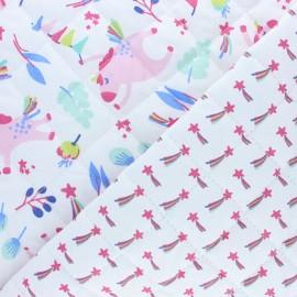 Tissu matelassé Réversible Filante/Unistar - rose x 10cm