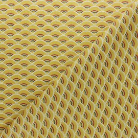 Coated cretonne Cotton fabric - yellow Koï x 10cm