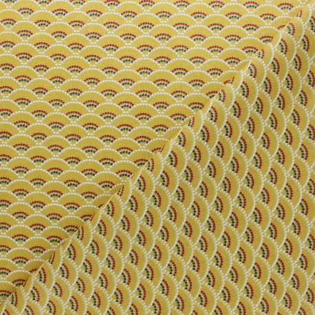 Coated cretonne Cotton fabric - yellow Koï x 10cm