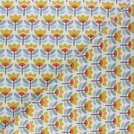 Coated cretonne Cotton fabric - yellow Sven x 10cm