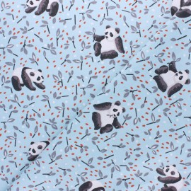 Coated cretonne Cotton fabric - light blue Panda x 10cm