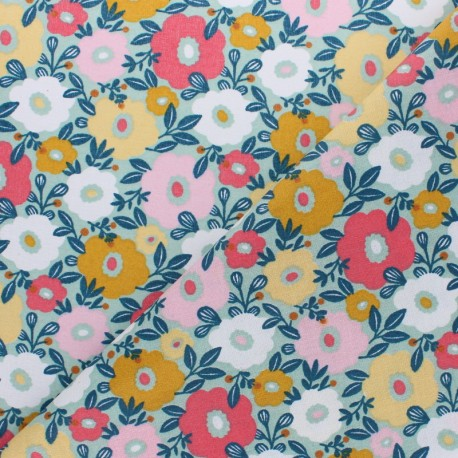 Coated cretonne Cotton fabric - light blue Panda x 10cm