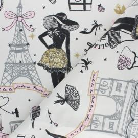 Tissu coton cretonne enduit Moi Paris - doré x 10cm