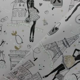 Tissu coton cretonne enduit Moi Paris - argent x 10cm