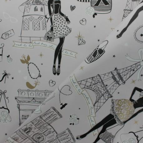 Coated cretonne Cotton fabric - Gold Moi Paris x 10cm