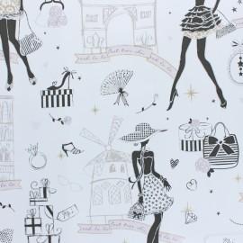 Tissu toile cirée Moi Paris - blanc x 10cm