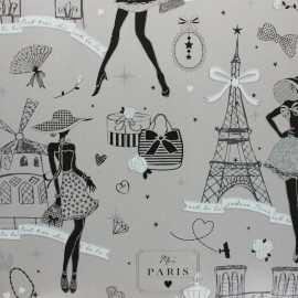 Oilcloth fabric - Grey Moi Paris x 10cm