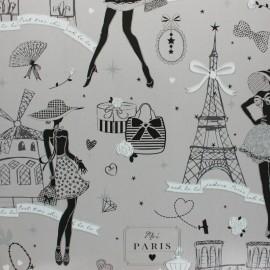 Tissu toile cirée Moi Paris - gris x 10cm
