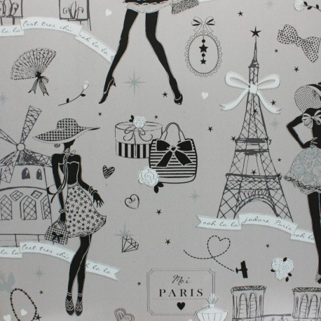 Oilcloth fabric - Grey Moi Paris x 10cm