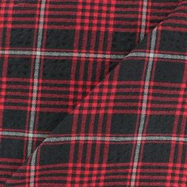 Tissu Viscose gaufré Alexander - rouge x 10cm