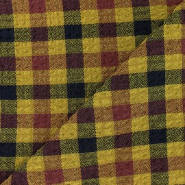 Tissu Viscose gaufré Arthur - jaune x 10cm