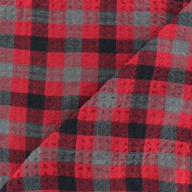 Embossed Viscose fabric - red Arthur x 10cm