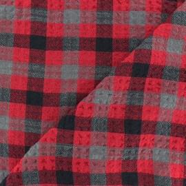 Tissu Viscose gaufré Arthur - rouge x 10cm