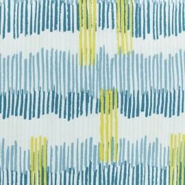 Froufrou cotton fabric - Turquoise/silver Plume scintillant x 10cm
