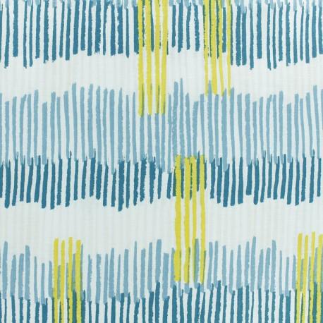 Froufrou cotton fabric - Turquoise/silver Plume scintillant x 10cm