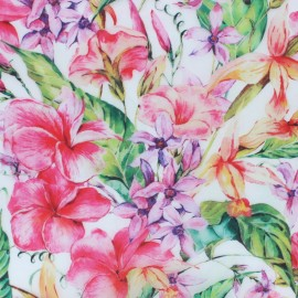 Special rain Transparent waterproof fabric -Printemps x 10cm