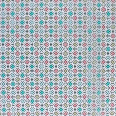 Tissu spécial ciré transparent réversible - Printemps x 10cm