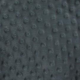 Tissu velours minkee doux relief à pois gris anthracite