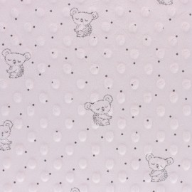 Dotted Minkee velvet fabric - light pink Little koala x 10cm