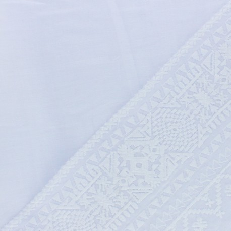 Embroidered voile cotton fabric - white Pandora x 10 cm