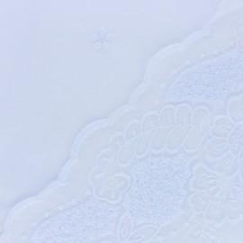 Tissu voile de coton brodé festonné Primerose - blanc x 10 cm
