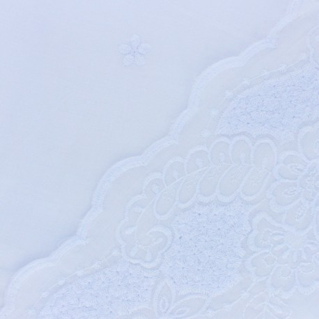 Scalloped embroidered voile cotton fabric - white Primerose x 10 cm