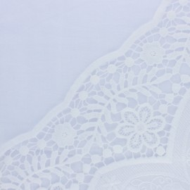 Scalloped embroidered voile cotton fabric - white Philéonie x 10 cm
