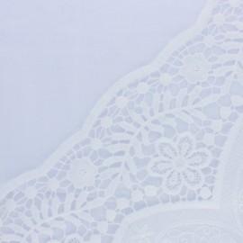 Tissu voile de coton brodé festonné Philéonie - blanc x 10 cm