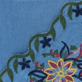 Scalloped embroidered Chambray cotton fabric - blue Josepha x 10 cm
