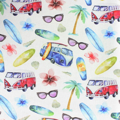 Cotton fabric - white Let's go to the beach x 10cm