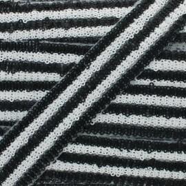 Galon Paillettes Yuna 30 mm - Noir x 50cm