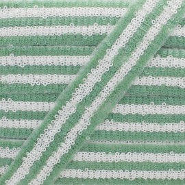 30 mm Sequin Braid Trimming - Sage Green Yuna x 50cm